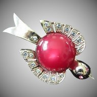 Vintage Red Jelly Belly & Rhinestone Bird Pin Brooch ~ REDUCED!
