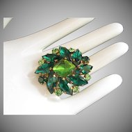 Austrian Emerald & Peridot Green Rhinestone Brooch Pin ~ REDUCED!