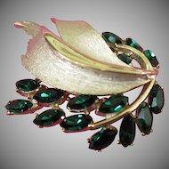 BSK Radiant Emerald Green Rhinestone Brooch