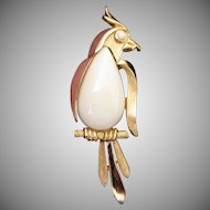 Vintage Trifari Bird Pin Brooch in White, Gold Tone