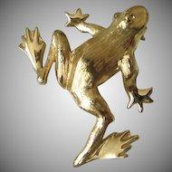 Trifari Brushed Gold Tone Frog Pin