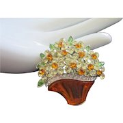 Vintage Jonquil Rhinestone Flowers in Lucite Basket Pin Brooch ~ REDUCED!
