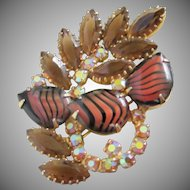 Tiger Stripe Art Glass, AB and Smokey Topaz Rhinestone Brooch Pin ~ REDUCED!