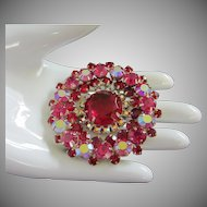 Dazzling Ruby, Fuchsia and Raspberry AB Rhinestone Brooch Pin