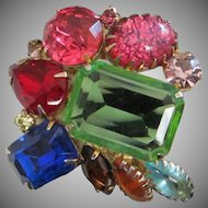 Vintage Multi Colored Rhinestone Abstract Pin Brooch