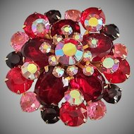Ruby Red Pink and Dark Amethyst Rhinestone Pin Brooch
