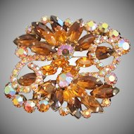 Light and Dark Topaz AB Rhinestone Brooch Pin