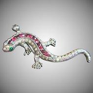 Vintage Rhinestone Salamander or Lizard Pin Brooch