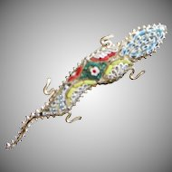 Vintage Micro Mosaic Salamander or Lizard Pin Made in Italy