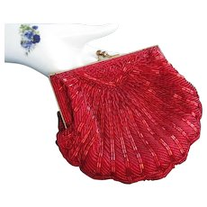 Vintage La Regale Red Beaded Convertible Evening Bag Purse