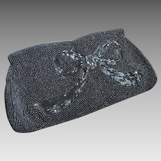 Vintage Black Beaded Evening Bag Purse Clutch, 1950's