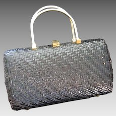 Vintage Koret Black Wicker and Leather Purse, Made in Italy