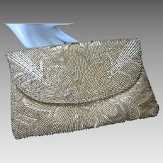 La Regale Vintage Gold Beaded Evening Purse or Clutch