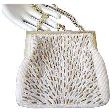 Walborg Vintage Creamy Beaded Evening Purse or Handbag
