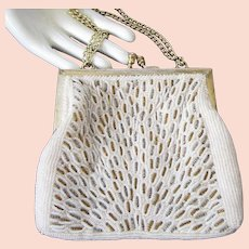 Walborg Vintage Creamy Beaded Evening Purse or Handbag