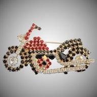 Vintage Roaring Rhinestone Motorcycle Pin Brooch ~ REDUCED!