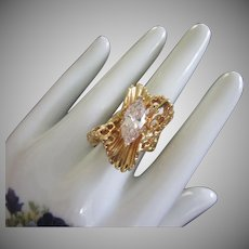 Vintage Clear Rhinestone Cocktail Ring with Wavy Ruffled Design, Size 9 ~ REDUCED!