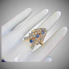 Festive Vintage Light and Dark Sapphire Rhinestone Ring, Adjustable
