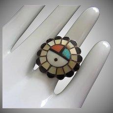 Vintage Zuni Full Sun Face Ring Size 7