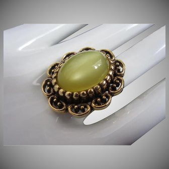 Light Lemony Yellow Moonglow Lucite Vintage Ring with Adjustable band
