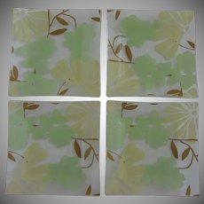 Vintage Summertime Green Glass Sandwich Salad Plates with Floral Design