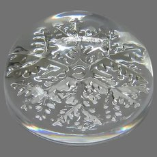 Vintage Crystal Snowflake Paperweight, Made in France