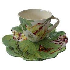 Spode Floral Haven Cup and Saucer, Cabbage Leaf Floral Design