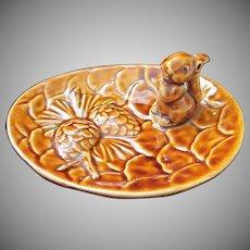 Vintage Squirrel and Pine Cone Nut Dish, Victoria Ceramics, Japan ~ REDUCED!