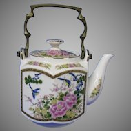 Final Markdown - Six Sided Oriental Themed Blue Birds and Pink Floral Teapot