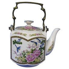 Six Sided Oriental Themed Blue Birds and Pink Floral Teapot