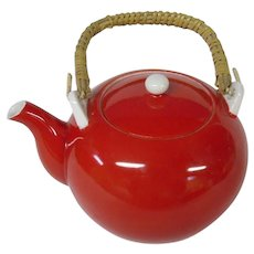Perky Red Vintage Teapot with Bamboo Handle