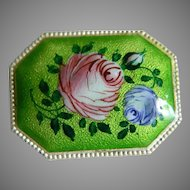 Lovely Enameled Silver Tone Brooch