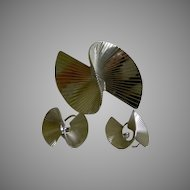 Napier  Sterling Silver Brooch and Earrings Late 1940's