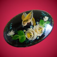 Charming Black Oval Enameled Hand Painted Bird with Roses