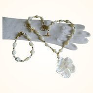Vintage Three Piece Set, Necklace, Bracelet, and Pierced Earrings, Mother of Pearl