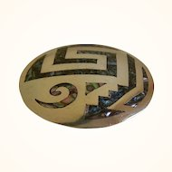 Vintage Sterling Silver Brooch and Pendant with Inlaid Abalone Shell Design, Taxco, Mexico