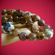 Vintage Oriental Brown Carnelian and Cloisonne Beaded Necklace
