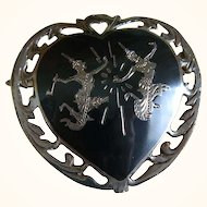 Siam Silver Niello Heart Shaped Brooch 1940's
