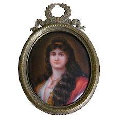 Antique Miniature Portrait Painted on Porcelain in Brass Frame
