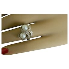 Vintage Sterling Silver Snake Ring with Faux Pearls