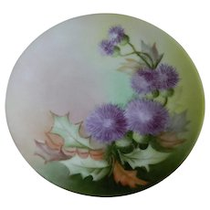 Thomas Sevres Bavaria Hand Painted Thistle Plate, 1908 - 1939