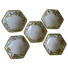 1920 Set of 5 Morimura, Nippon, Pedestal Salt Cellars