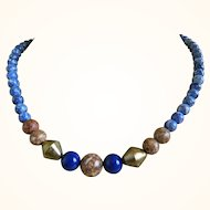 Vintage Beaded Necklace, Lapis, Jasper, Sodalite and Brass