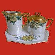 1920 C.T. Altwasser, Germany Arts and Crafts Sugar Bowl, Creamer and Tray Set