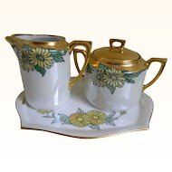 1920 C.T. Altwasser, Germany Arts and Crafts Sugar Bowl, Creamer and Tray Set