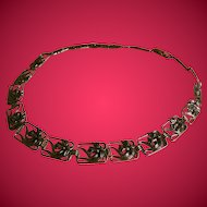 "Vintage Art Nouveau Styled Metal Belt, 33"" Length"