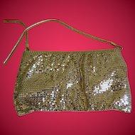 Vintage Whiting & Davis Gold Mesh Purse with Shoulder Strap, 1970's - 1980's