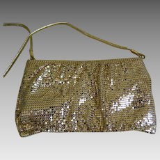 Vintage Whiting & Davis Gold Mesh Purse with Shoulder Strap, 1970's - 1980's