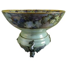 Antique Limoges France Punch Bowl with Unique Plinth