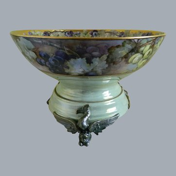 Holiday Sales!  Antique Limoges France Punch Bowl with Unique Plinth